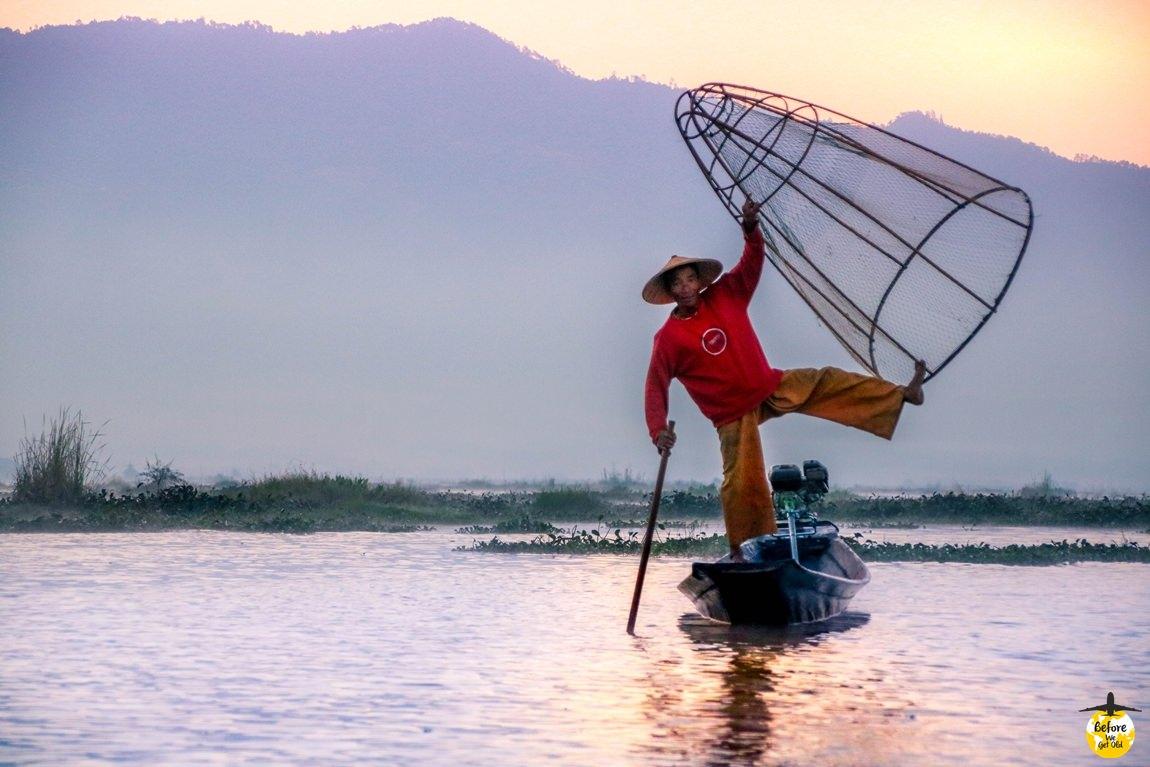 Jezioro Inle Lake - siatki do łowienia ryb