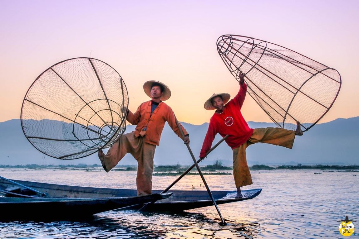Inle Lake - rybacy z siatkami