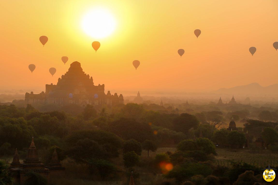 lot balonem w Birmie Bagan