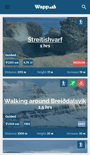 Islandia aplikacje trekking
