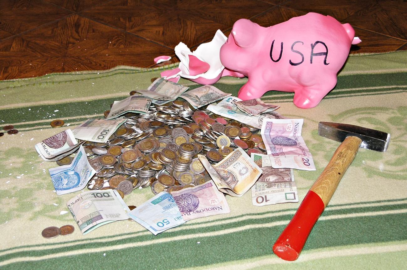 koszty podróży do USA świnka skarbonka