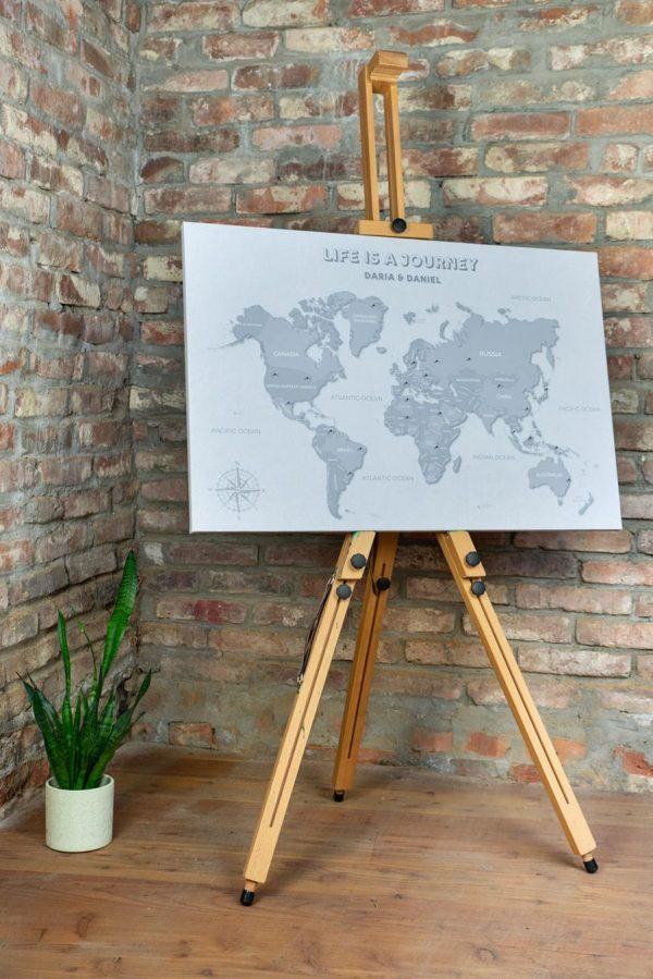 szara mapa świata z pinezkami