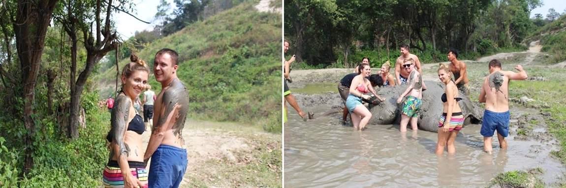 Rezerwat słoni w Tajlandii - kąpiel błotna ze słoniami