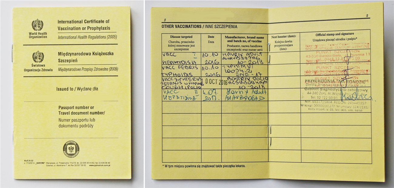 żółta książeczka szczepień