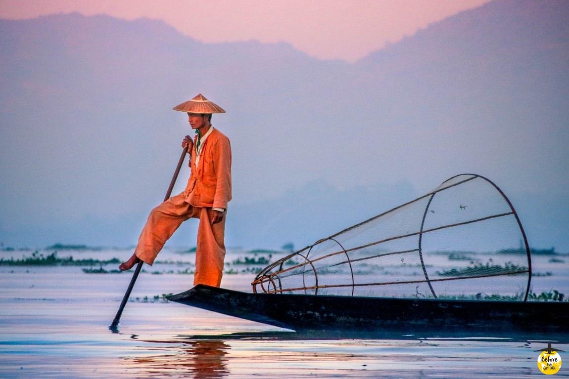 Jezioro Inle Lake - rybacy z Birmy