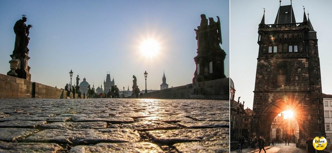 Praga Most Karola o poranku