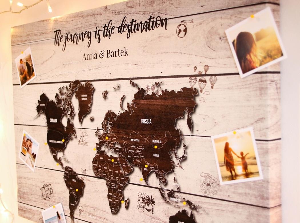 personalizowana mapa świata korkowa