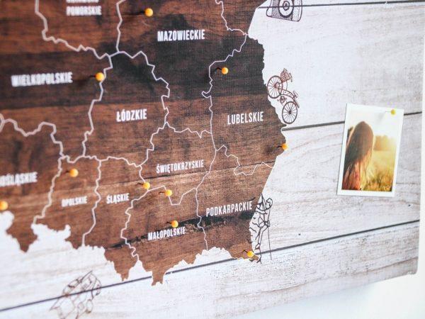 drewniana mapa Polski