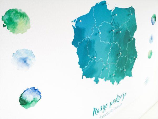 personalizowana mapa Polski ozdobna
