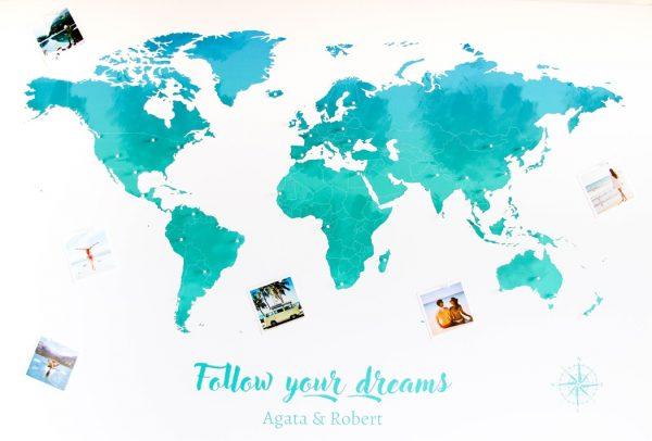 personalizowana mapa świata prezent dla podróżnika