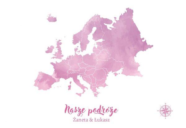 personalizowana mapa Europy pastelowa