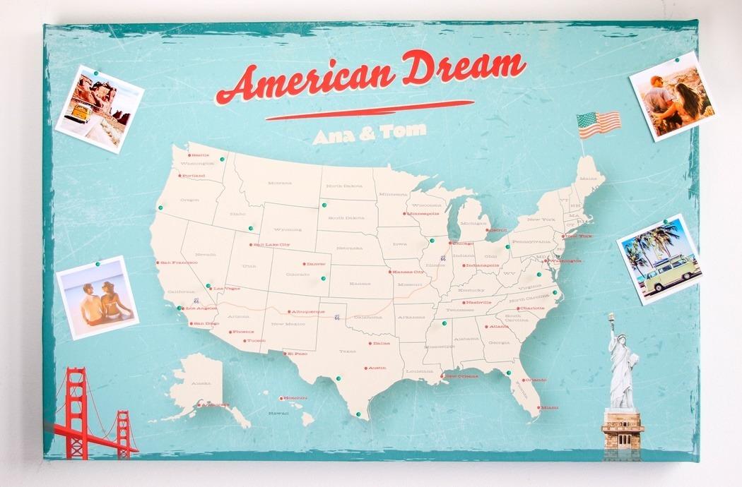 personalizowana mapa Stanów Zjednoczonych vintage