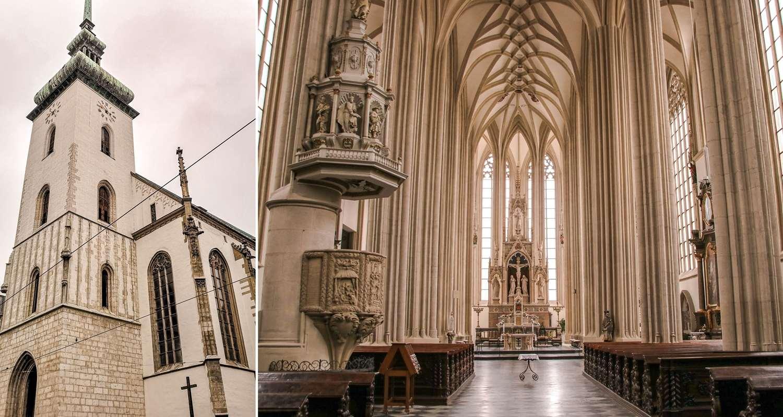 Brno na weekend kościół św. Jakuba z gołą pupą