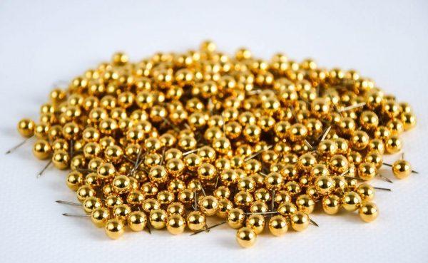 pinezki okrągłe złote do map